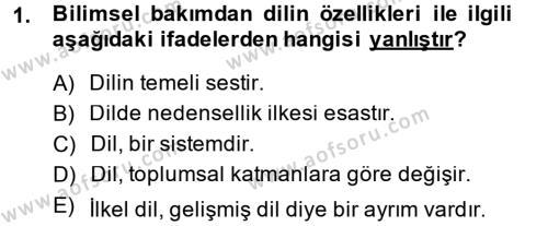 Türk Dili 1 Dersi 2014 - 2015 Yılı Dönem Sonu Sınavı 1. Soru