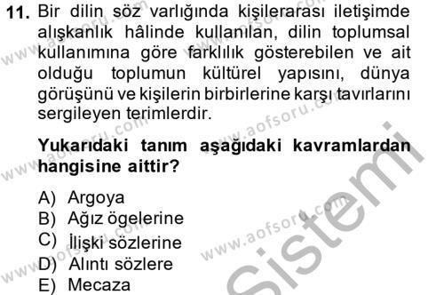 Türk Dili 1 Dersi 2014 - 2015 Yılı (Final) Dönem Sonu Sınavı 11. Soru