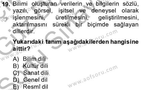 Türk Dili 1 Dersi 2014 - 2015 Yılı (Final) Dönem Sonu Sınavı 19. Soru