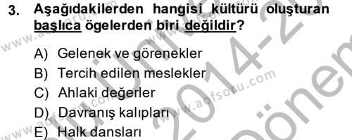 Sosyal Hizmet Bölümü 7. Yarıyıl Türk Dili I Dersi 2015 Yılı Güz Dönemi Dönem Sonu Sınavı 3. Soru