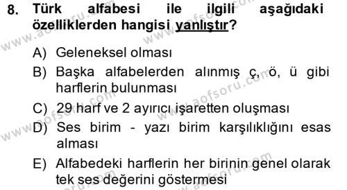 Türk Dili 1 Dersi 2014 - 2015 Yılı (Final) Dönem Sonu Sınavı 8. Soru