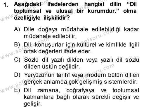 Türk Dili 1 Dersi 2014 - 2015 Yılı Tek Ders Sınav Soruları 1. Soru