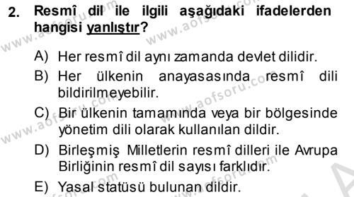 Türk Dili 1 Dersi 2014 - 2015 Yılı Tek Ders Sınav Soruları 2. Soru