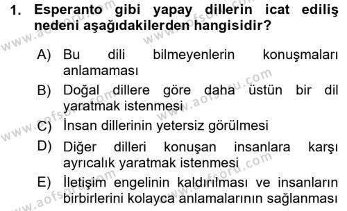 Uluslararası İlişkiler Bölümü 7. Yarıyıl Türk Dili I Dersi 2016 Yılı Güz Dönemi Ara Sınavı 1. Soru