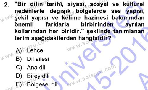 Türk Dili 1 Dersi 2015 - 2016 Yılı Ara Sınavı 2. Soru