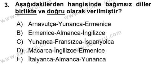 Uluslararası İlişkiler Bölümü 7. Yarıyıl Türk Dili I Dersi 2016 Yılı Güz Dönemi Ara Sınavı 3. Soru