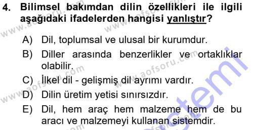 Uluslararası İlişkiler Bölümü 7. Yarıyıl Türk Dili I Dersi 2016 Yılı Güz Dönemi Ara Sınavı 4. Soru