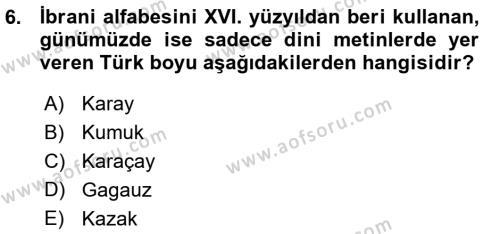 Türk Dili 1 Dersi Ara Sınavı Deneme Sınav Soruları 6. Soru