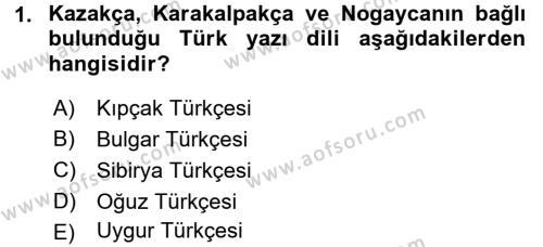 Uluslararası İlişkiler Bölümü 7. Yarıyıl Türk Dili I Dersi 2016 Yılı Güz Dönemi Dönem Sonu Sınavı 1. Soru