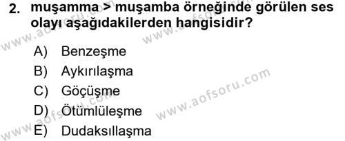 Türk Dili 1 Dersi 2015 - 2016 Yılı Tek Ders Sınavı 2. Soru