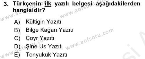 Türk Dili 1 Dersi 2015 - 2016 Yılı Tek Ders Sınavı 3. Soru