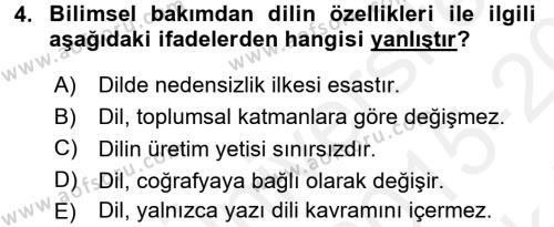 Türk Dili 1 Dersi 2015 - 2016 Yılı Tek Ders Sınavı 4. Soru