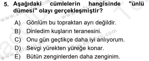 Sosyal Hizmetler Bölümü 3. Yarıyıl Türk Dili I Dersi 2016 Yılı Güz Dönemi Tek Ders Sınavı 5. Soru
