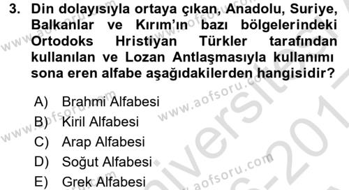 Türk Dili 1 Dersi Ara Sınavı Deneme Sınav Soruları 3. Soru