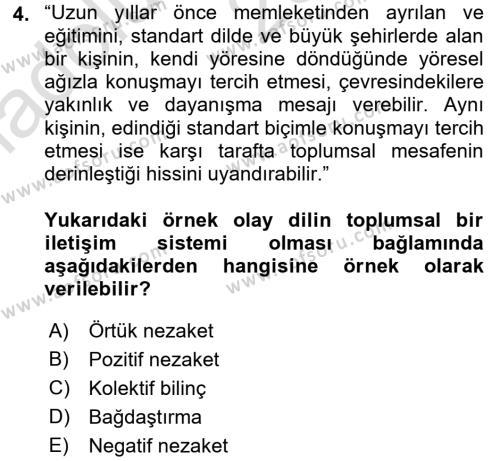 Türk Dili 1 Dersi 2016 - 2017 Yılı (Vize) Ara Sınav Soruları 4. Soru
