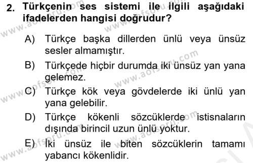 Türk Dili 1 Dersi 2016 - 2017 Yılı Dönem Sonu Sınavı 2. Soru