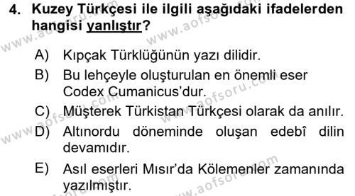 Türk Dili 1 Dersi 2016 - 2017 Yılı Dönem Sonu Sınavı 4. Soru