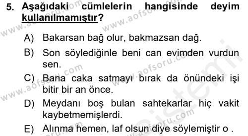 Sosyal Hizmetler Bölümü 3. Yarıyıl Türk Dili I Dersi 2017 Yılı Güz Dönemi Dönem Sonu Sınavı 5. Soru
