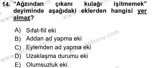 Türk Dili 1 Dersi Ara Sınavı Deneme Sınav Soruları 14. Soru