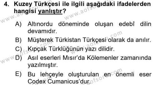 Yönetim Bilişim Sistemleri Bölümü 7. Yarıyıl Türk Dili I Dersi 2018 Yılı Güz Dönemi Ara Sınavı 4. Soru