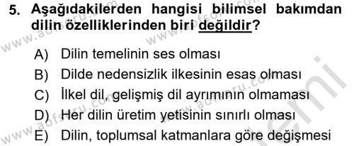 Yönetim Bilişim Sistemleri Bölümü 7. Yarıyıl Türk Dili I Dersi 2018 Yılı Güz Dönemi Ara Sınavı 5. Soru