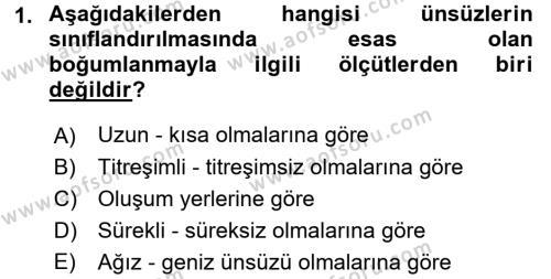 Türk Dili 1 Dersi 2017 - 2018 Yılı (Final) Dönem Sonu Sınav Soruları 1. Soru