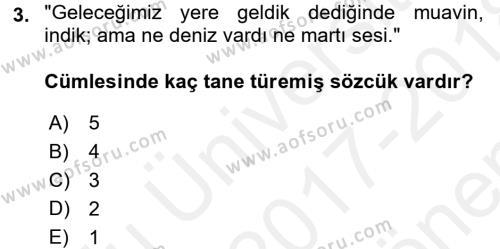 Türk Dili 1 Dersi 2017 - 2018 Yılı (Final) Dönem Sonu Sınav Soruları 3. Soru