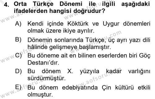 Türk Dili 1 Dersi 2017 - 2018 Yılı (Final) Dönem Sonu Sınav Soruları 4. Soru