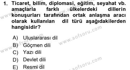 Türk Dili 1 Dersi 2018 - 2019 Yılı 3 Ders Sınavı 1. Soru