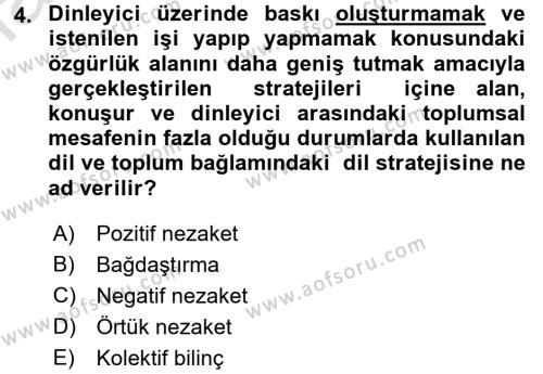 Türk Dili 1 Dersi 2018 - 2019 Yılı 3 Ders Sınav Soruları 4. Soru
