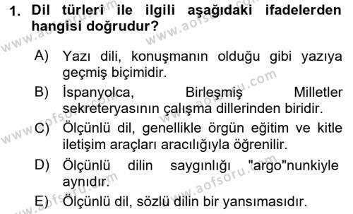 Türk Dili 1 Dersi 2018 - 2019 Yılı (Vize) Ara Sınavı 1. Soru