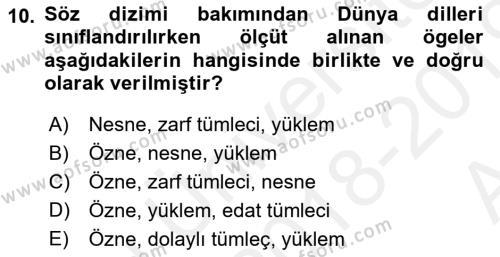 Türk Dili 1 Dersi 2018 - 2019 Yılı (Vize) Ara Sınav Soruları 10. Soru