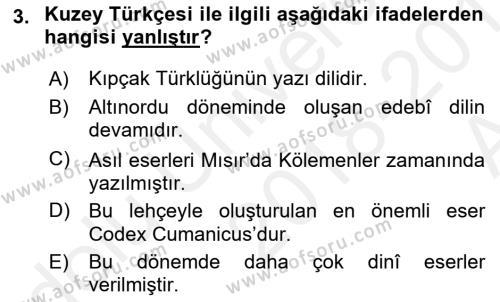 Türk Dili 1 Dersi 2018 - 2019 Yılı (Vize) Ara Sınavı 3. Soru