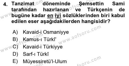 Türk Dili 1 Dersi 2018 - 2019 Yılı (Vize) Ara Sınavı 4. Soru