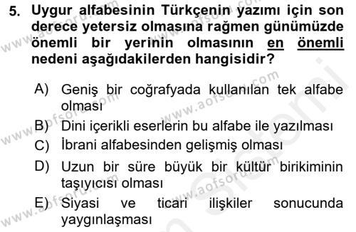 Türk Dili 1 Dersi 2018 - 2019 Yılı (Vize) Ara Sınav Soruları 5. Soru