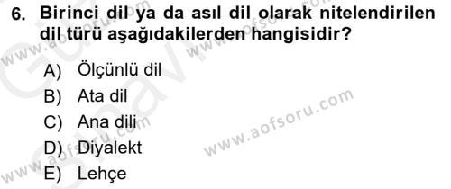 Türk Dili 1 Dersi 2018 - 2019 Yılı (Vize) Ara Sınav Soruları 6. Soru