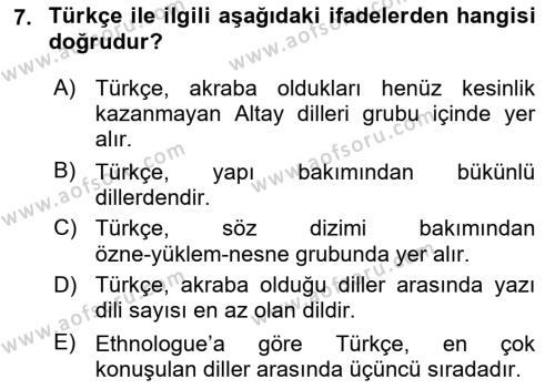 Türk Dili 1 Dersi 2018 - 2019 Yılı (Vize) Ara Sınav Soruları 7. Soru