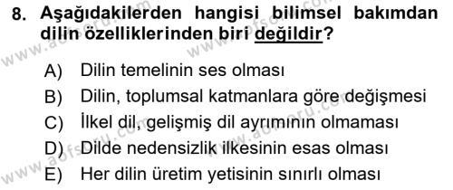 Türk Dili 1 Dersi 2018 - 2019 Yılı (Vize) Ara Sınav Soruları 8. Soru