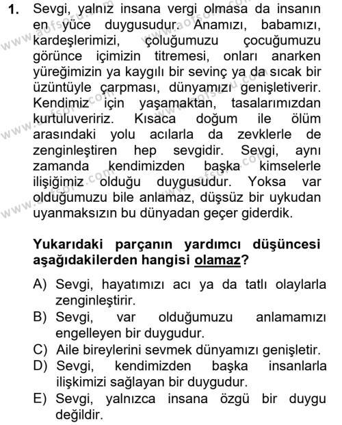 Ev İdaresi Bölümü 4. Yarıyıl Türk Dili II Dersi 2013 Yılı Bahar Dönemi Ara Sınavı 1. Soru