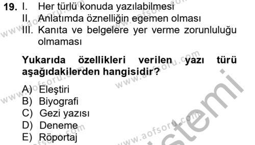 Türk Dili 2 Dersi Ara Sınavı Deneme Sınav Soruları 19. Soru