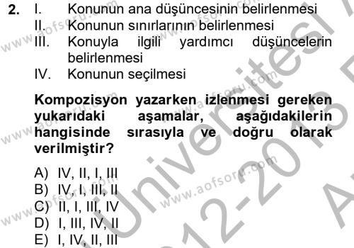 Ev İdaresi Bölümü 4. Yarıyıl Türk Dili II Dersi 2013 Yılı Bahar Dönemi Ara Sınavı 2. Soru