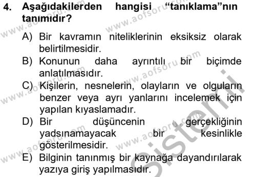 Ev İdaresi Bölümü 4. Yarıyıl Türk Dili II Dersi 2013 Yılı Bahar Dönemi Ara Sınavı 4. Soru