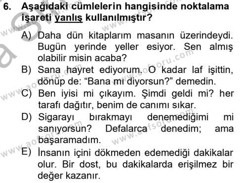 Türk Dili 2 Dersi Ara Sınavı Deneme Sınav Soruları 6. Soru