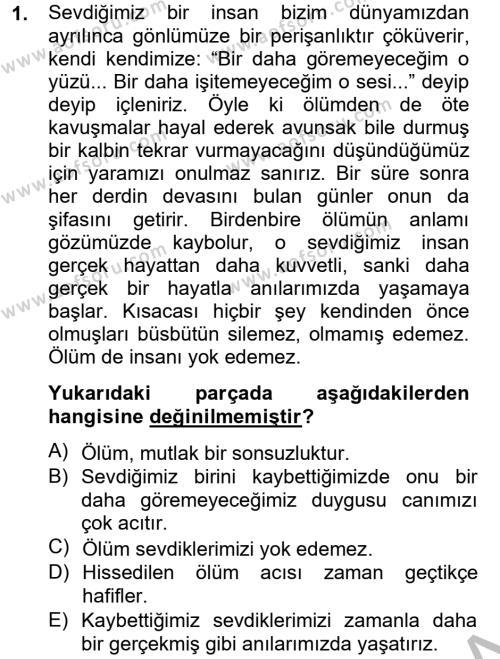 Sosyal Hizmetler Bölümü 4. Yarıyıl Türk Dili II Dersi 2013 Yılı Bahar Dönemi Dönem Sonu Sınavı 1. Soru