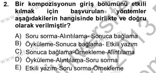 Emlak ve Emlak Yönetimi Bölümü 4. Yarıyıl Türk Dili II Dersi 2013 Yılı Bahar Dönemi Dönem Sonu Sınavı 2. Soru