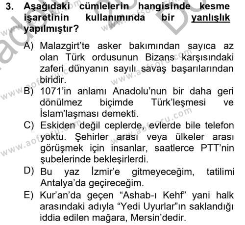 Sosyal Hizmetler Bölümü 4. Yarıyıl Türk Dili II Dersi 2013 Yılı Bahar Dönemi Dönem Sonu Sınavı 3. Soru