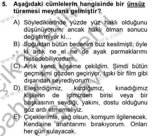 Emlak ve Emlak Yönetimi Bölümü 4. Yarıyıl Türk Dili II Dersi 2013 Yılı Bahar Dönemi Dönem Sonu Sınavı 5. Soru