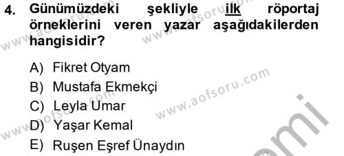 Dış Ticaret Bölümü 4. Yarıyıl Türk Dili II Dersi 2014 Yılı Bahar Dönemi Dönem Sonu Sınavı 4. Soru