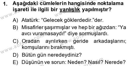 Türk Dili 2 Dersi 2013 - 2014 Yılı Tek Ders Sınavı 1. Soru