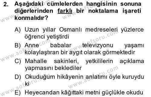 Türk Dili 2 Dersi 2013 - 2014 Yılı Tek Ders Sınavı 2. Soru